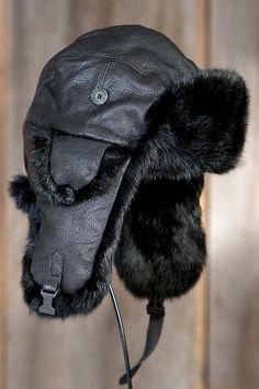 Canada Goose' Shearling Sheepskin Aviator Hat - Black