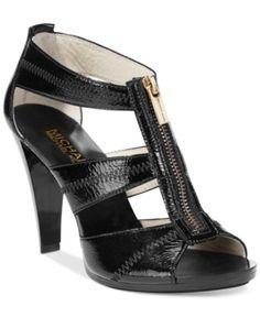 ea4615dbd6b4 Michael Michael Kors Berkley T-Strap Dress Sandals - Black 11M Platform Wedge  Sandals