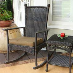 Outdoor Porch Patio Furniture Dark Roast Classic Wicker Rocker with Cushion NEW! Plastic Rocking Chair, Wicker Rocking Chair, Outdoor Rocking Chairs, Outdoor Wicker Chairs, Front Porch Chairs, Patio Chairs, Office Chairs, Adirondack Chairs, Porch Swings