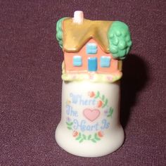 Vintage Thimble House Topper Ceramic The Creative Circle Where the Heart Is
