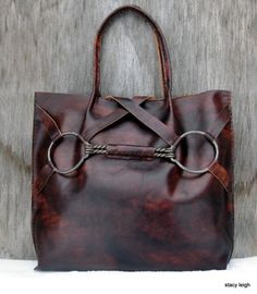 Equestrian Vintage Horse Bit Tote Bag in Leather Bow by stacyleigh...even horsie fashion can be pretty :)