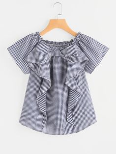 Shop Gingham Frill Trim Blouse online. SheIn offers Gingham Frill Trim Blouse & more to fit your fashionable needs.