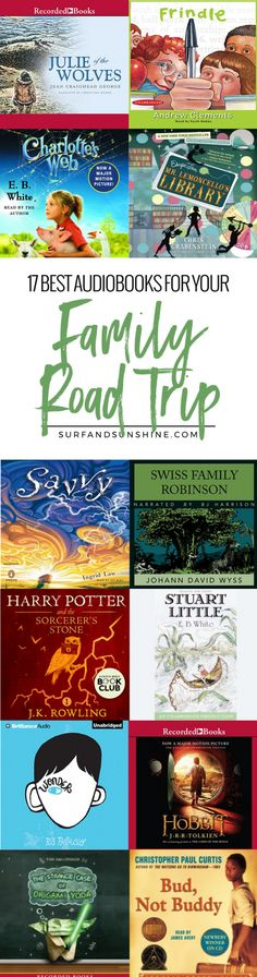 """Here is a list of the 17 best audiobooks for family road trips to help keep everyone happy and avoid the dreaded question, """"Are we there, yet?""""via @jeanabeena"""