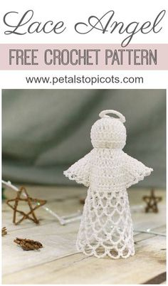 This sweet lace angel crochet pattern is perfect to work up for the holidays or any time you feel that heavenly inspiration. Don't be intimidated by the delicate design ... she's easier to work up than she looks! #petalstopicots