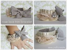 bracelets that combine lace, ribbon, metals and tiny touch of bling! <3 <3