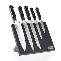 Ross Henery Professional, 5-piece premium stainless steel kitchen knife set on a stylish, black magnetic block with 2-year warranty