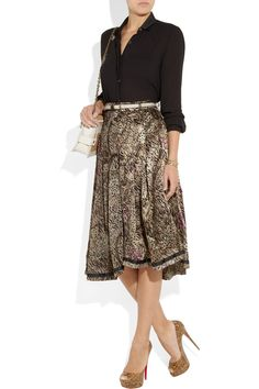 Preen Line | Sasha printed silk-satin and georgette skirt | NET-A-PORTER.COM