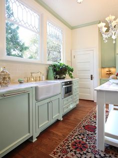 Garrison Hullinger Interior Design - kitchens - Sonoma Tribeca Style - Butter, mint green cabinets, mint green kitchen cabinets, farmhouse s. Deco Design, Küchen Design, Design Case, Design Ideas, Sink Design, Island Design, Loft Design, Design Concepts, Design Projects