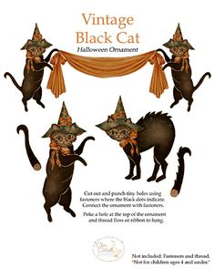 Print, cut out and use fasteners to create your very own Vintage Black Cat ornament! Decorate your Cat puppet with glitter or fun embellishments and hang on your halloween tree, refrigerator, window or on the mantle. by Cheri Cottrell Retro Halloween, Halloween Club, Looks Halloween, Vintage Halloween Images, Halloween Doodle, Halloween Trees, Holidays Halloween, Halloween Crafts, Halloween Decorations
