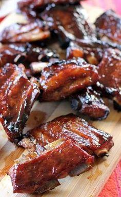 These ribs need to marinade for hours Hoisin Pork Ribs - Ang Sarap Bbq Pork, Pork Ribs, Barbecued Ribs, Bbq Ribs, Pork Spare Ribs, Barbecue Chicken, Barbecue Sauce, Pork Rib Recipes, Asian Recipes