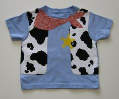 Cowboy Vest and Neck Tie Appliqued Onesie or Shirt with Cow Print and Bandanna Print Sheriff Star Perfect for Birthday or Photo Shoot