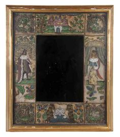 A Charles II Stumpwork and Beadwork Framed Mirror, 17th century, the vertical rectangular plate surrounded by figures, a castle, birds and ...
