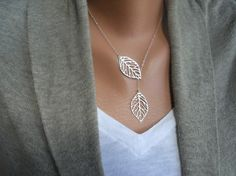 Beautiful lariat leaves necklace.  Delicate and prefect for summer.  Etsy listing at https://www.etsy.com/listing/173674008/double-sterling-silver-leaves-necklace