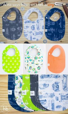 """Charlie Bib / Hemming Birds Boutique.   Colorful, fun and machine washable! Made to be your """"go-to"""" bib and adorable for outings. Thoughtfully designed with side snap (no velcro) and 100% cotton on front. Fleece on the back keeps the messes contained. Makes a perfect baby gift! Save when you buy 3, only $30! Made in USA."""