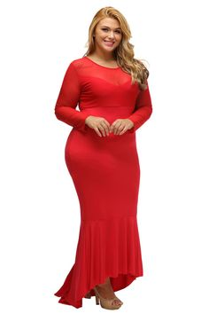Robes Grandes Tailles Rouge Sheer Mesh Splice Curvy Mermaid Robe Pas Cher  www.modebuy. cba915a02a3