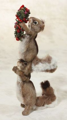 Needle felted Christmas squirrels Deck The Halls by Mikki Klug.