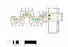 First floor plan. Social Housing Architecture, Education Architecture, School Architecture, Architecture Plan, Building Design Plan, School Building Design, School Floor Plan, School Plan, Elementary Library