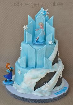 Disney's Frozen cake - This cake was done in all fondant. Disney infinity toy anna and elsa characters. this was not my original design. had so much fun making this.