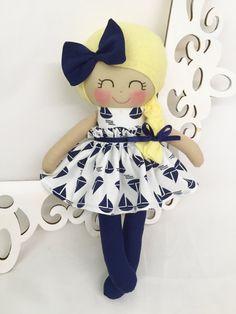 Fabric Doll, Navy Doll- Nautical