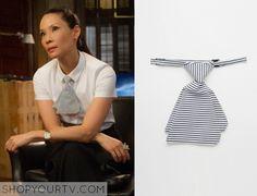 Joan Watson (Lucy Liu) wears this mini striped tie in this week's episode of Elementary. It is the ASOS Stripe Mini Tie. [...]