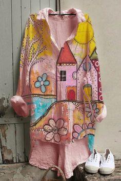Cartoon House Floral Print Buttoned Shirt Collar High Low Blouse - Shopingnova