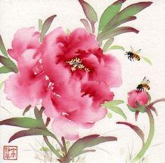 """Joyful Garden (c) 2012 6"""" x 6"""" watercolor contact: jhdalia@gmail.com"""