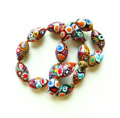 Vintage Venetian Glass Beaded Necklace / Bohemian Tribal Necklace / 70s Boho Colorful Beaded Necklace by thehappyforest on Etsy