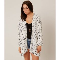 Billabong Wandering Cardigan - White S/M ($60) ❤ liked on Polyvore featuring tops, cardigans, white, billabong cardigan, billabong, white cardigan, white kimono and kimono cardigan