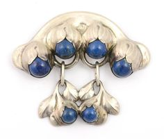 """Evald Nielsen Sterling Silver and Lapis Lazuli Antique Brooch with Double Drop, 830 Silver, Denmark, 2-1/4"""" long, 3"""" wide, 0.86 TO"""