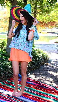 LOVE these neon orange shorts! Perfect with a printed top for spring!