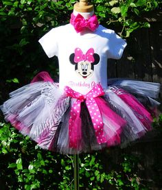 Minnie Mouse Face Birthday Number Tutu by TutuBellaCoutureLtd, $49.95