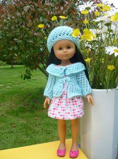 Ensemble robe, gilet et chapeau pour poupée Chérie (Adaptation du modèle de Nathalie du blog  « Histoires de Poupées » du 29/05/2016): 1) http://marieetlaines.canalblog.com/archives/2016/05/29/33842611.html 2) http://p8.storage.canalblog.com/84/38/1066432/110784212.pdf