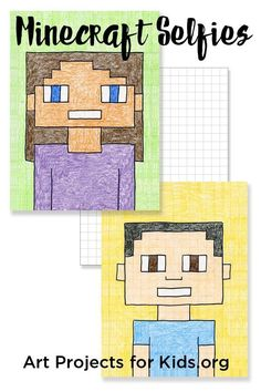 Guide to Drawing Minecraft Selfies Minecraft Selfies - Art Projects for Kids. Add a little math and pop culture to your kid's art.Minecraft Selfies - Art Projects for Kids. Add a little math and pop culture to your kid's art. School Art Projects, Projects For Kids, Fun Art Projects, Project Ideas, Family Art Projects, Class Projects, Middle School Art, Art School, Primary School Art