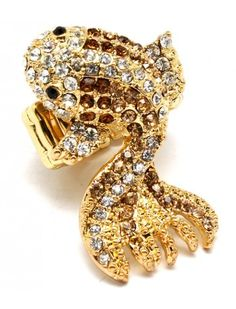 GOLD CRYSTAL GOLDFISH LADIES FASHION STRETCH RING - View All Rings - Rings - Jewellery