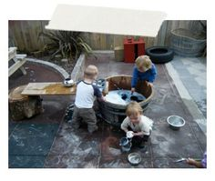 We utilize water play to enhance sensory In each child as well as incorporating new words such as wet, hot, cold Outdoor Learning Spaces, Outdoor Play Areas, Outdoor Fun, Outdoor Spaces, Backyard Play, Play Yard, Concrete Backyard, Preschool Playground, Preschool Ideas