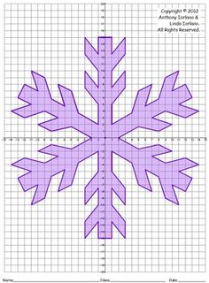 Snowflake (4 Quadrants)This coordinate graphing project is fun for the student and makes a great bulletin board idea as well.  This project can be used for the winter season.  Students will use their knowledge of coordinate graphing and ordered pairs to work creating a drawing of a snowflake using all four quadrants.