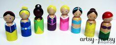via @artsyfartsymama: Princess Peg Dolls using @lilblueboo box o' princesses tutorial and @Stephanie Corfee free image download