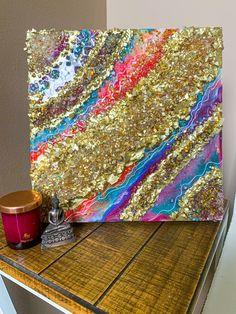 Letter Wall Art, 3d Wall Art, Acrylic Gems, Fusion Art, Purple Marble, Resin Artwork, Marble Art, Gold Glass, State Art