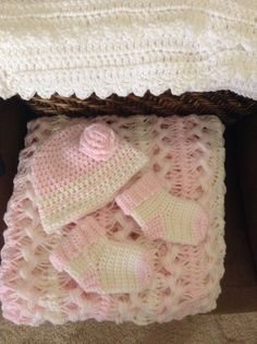 My hairpin lace baby blanket, beanie and booties