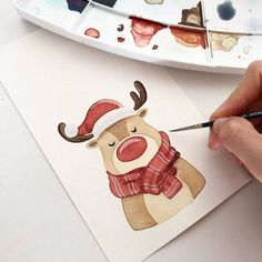 The video consists of 23 Christmas craft ideas. Watercolor Drawing, Watercolor Animals, Watercolor Cards, Painting & Drawing, Watercolor Paintings, Illustration Noel, Christmas Illustration, Watercolor Illustration, Christmas Drawing