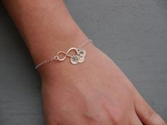 Anniversary Gift for Her, Personalized Infinity Bracelet, Initials, Forever Love, Infinite Love, Sterling Silver, Family initials, Mothers