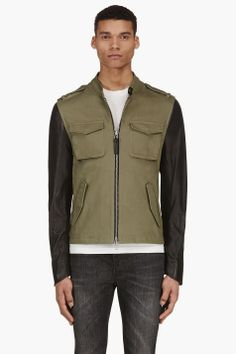 MACKAGE Olive Leather-trimmed PEYTON Jacket