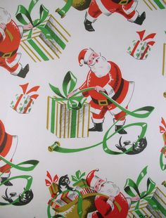 Santa & Cats - vintage wrapping paper