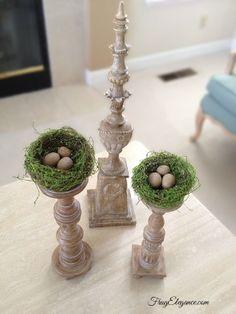 Candlesticks Easter Decoration nest eggs spring seasonal decoration green vignette coffee table