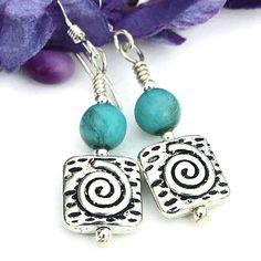 Pewter #Spiral and Smoked Turquoise Czech Glass #Earrings Handmade Dangle Jewelry @ShadowDog #ShadowDogDesigns - $20.00