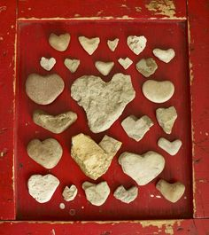 i have been collecting heart rocks for awhile...great way to display them