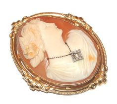 Stunning 10K GOLD Antique HABILLE Diamond Shell CAMEO PIN BROOCH Pendant-ESTATE!