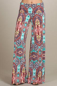SURFER GIRL Turquoise Boho Slouchy Lounge/Yoga Pants CHELSEA VERDE 3061 - 11 Main