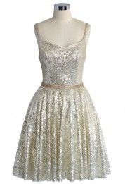 The Perfect Glam Sequins Cami Dress in Light Gold
