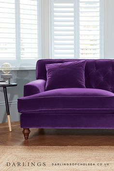 Luxury Purple Sofas Ideas Bring your home to life with a purple velvet sofa! The stunning jewel colour brings light, bright ambience to your living room decor. Perfect with dark walls, ideal with a bohemian, boho interior. Living Room Decor Colors, Room Paint Colors, Living Room Paint, Living Room Sofa, Living Room Furniture, Furniture Stores, Furniture Nyc, Furniture Websites, Decor Room